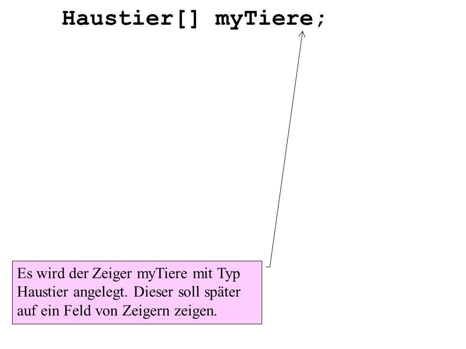 Haustier[] myTiere;Es wird der Zeiger myTiere mit Typ Haustier angelegt.